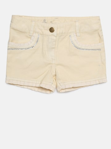 UFO Girls Cream-Coloured Solid Regular Fit Regular Shorts UFO Shorts at myntra