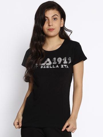 FILA Women Black Printed Round Neck T-shirt FILA Tshirts at myntra
