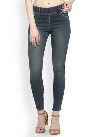 Westwood Blue Denim Look Skinny Fit MOONDUST Jeggings Westwood Jeggings at myntra