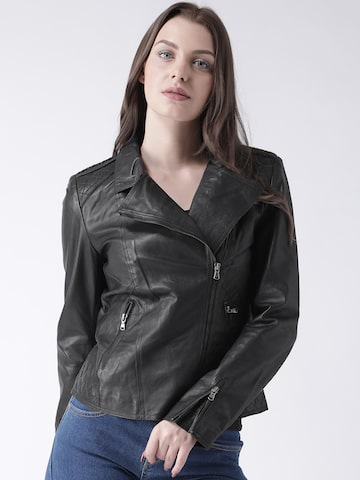 BARESKIN Women Black Solid Lightweight Leather Jacket BARESKIN Jackets at myntra