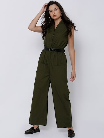 Tokyo Talkies Olive Green Solid Basic Jumpsuit Tokyo Talkies Jumpsuit at myntra
