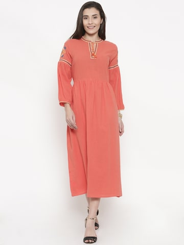 Global Desi Women Coral Red Solid Fit and Flare Dress Global Desi Dresses at myntra