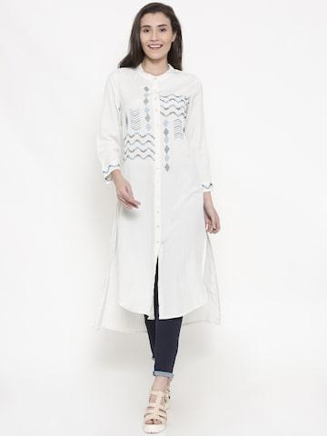 Global Desi Off-White Self-Design Tunic Global Desi Tunics at myntra