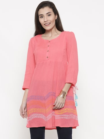 Global Desi Pink Printed Tunic Global Desi Tunics at myntra