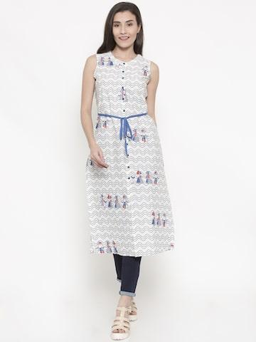 Global Desi White Printed Tunic Global Desi Tunics at myntra