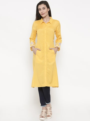 Global Desi Yellow Solid Tunic Global Desi Tunics at myntra