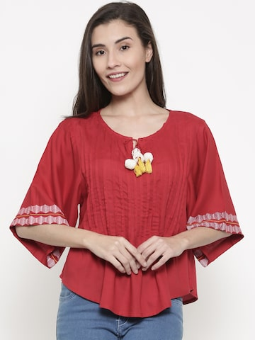 Global Desi Women Red Solid Top Global Desi Tops at myntra