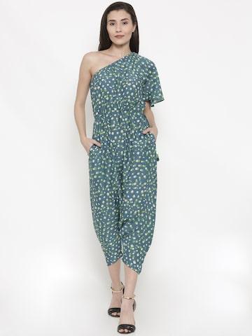Global Desi Blue Printed Basic Culotte Jumpsuit Global Desi Jumpsuit at myntra