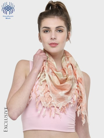 J Style Orange & White Printed Scarf J Style Scarves at myntra