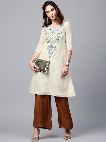 AKS Women Cream-Coloured Yoke Design A-Line Kurta AKS Kurtas at myntra