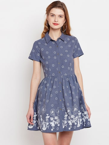 Nun Women Blue Printed Fit and Flare Dress Nun Dresses at myntra