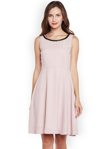 Nun Women Pink Solid Fit and Flare Dress Nun Dresses at myntra