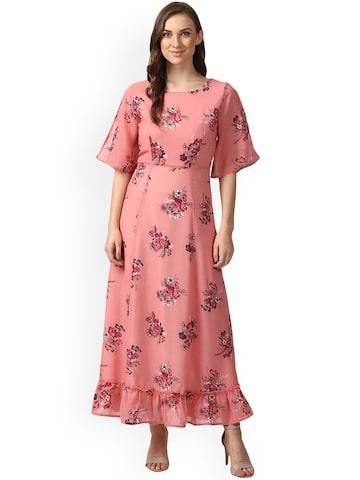 Nun Women Pink Printed Maxi Dress Nun Dresses at myntra