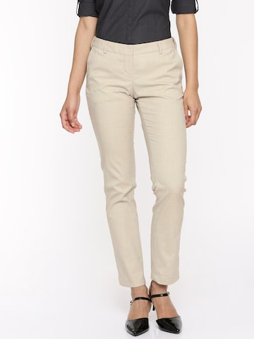 Arrow Woman Women Beige Original Tapered Fit Self Design Regular Trousers Arrow Woman Trousers at myntra