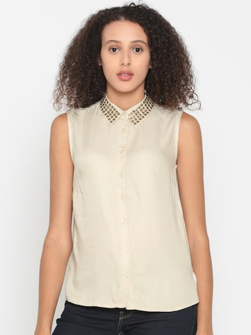 People Women Beige Regular Fit Solid Casual Shirt People Shirts at myntra