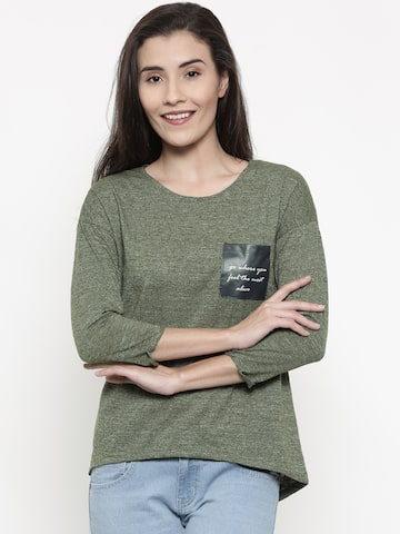 People Women Olive Green Solid Round Neck T-shirt People Tshirts at myntra
