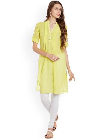 plusS Women Yellow Solid Straight Kurta plusS Kurtas at myntra