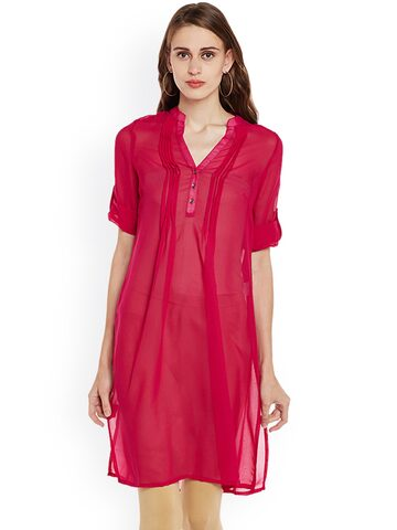 plusS Women Red Solid Straight Kurta plusS Kurtas at myntra