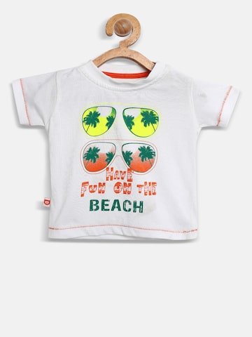 Baby League Boys White Printed Round Neck T-shirt Baby League Tshirts at myntra