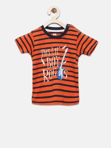 Baby League Boys Orange Striped Round Neck T-shirt Baby League Tshirts at myntra