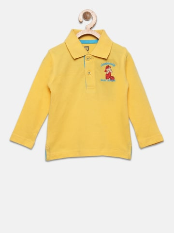 Baby League Boys Yellow Solid Polo Collar T-shirt Baby League Tshirts at myntra