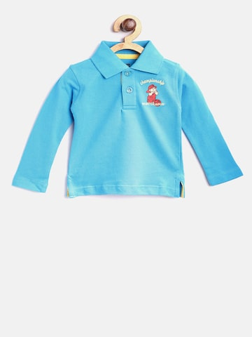 Baby League Boys Blue Solid Polo Collar T-shirt Baby League Tshirts at myntra