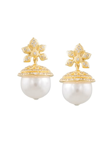 Sia Art Jewellery Gold-Toned Dome Shaped Drop Earrings Sia Art Jewellery Earrings at myntra