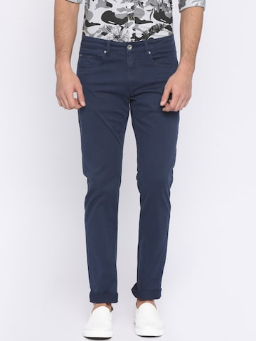 Pepe Jeans Men Blue Slim Fit Solid Regular Trousers Pepe Jeans Trousers at myntra