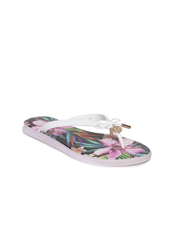 Carlton London Women White & Purple Floral Print Thong Flip-Flops Carlton London Flip Flops at myntra