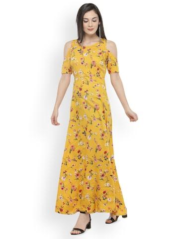 plusS Women Mustard Yellow & Red Printed Maxi Dress plusS Dresses at myntra