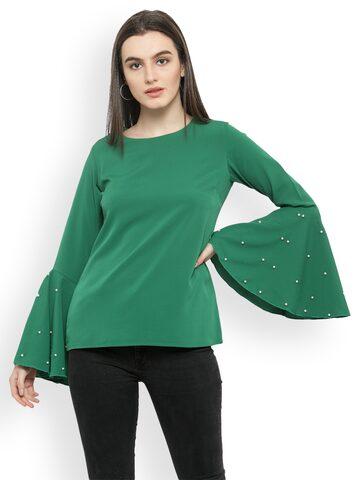 plusS Women Green Solid Top plusS Tops at myntra