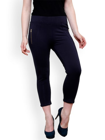 Westwood Women Navy Blue Solid Skinny Fit Capris Westwood Capris at myntra