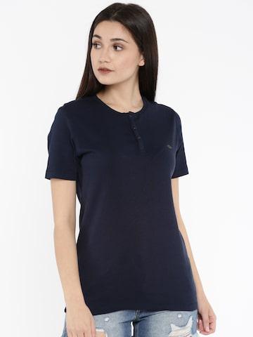 Numero Uno Women Navy Solid Henley Neck T-shirt Numero Uno Tshirts at myntra