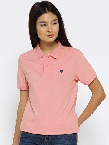 Numero Uno Women Pink Solid Longline Polo Collar T-shirt Numero Uno Tshirts at myntra