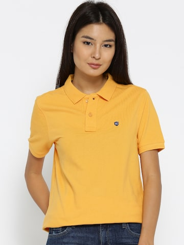 Numero Uno Women Yellow Solid Polo Collar T-shirt Numero Uno Tshirts at myntra