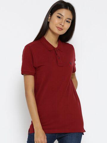 Numero Uno Women Maroon Solid Longline Polo Collar T-shirt Numero Uno Tshirts at myntra