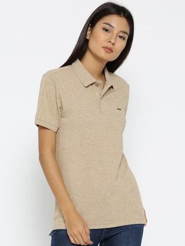 Numero Uno Women Beige Solid Longline Polo Collar T-shirt Numero Uno Tshirts at myntra