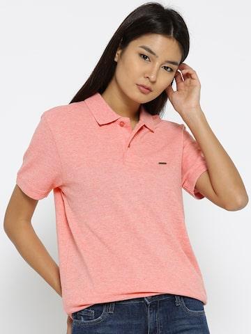 Numero Uno Women Coral Pink Solid Longline Polo Collar T-shirt Numero Uno Tshirts at myntra