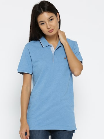 Numero Uno Women Blue Solid Polo Collar T-shirt Numero Uno Tshirts at myntra