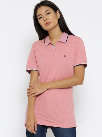 Numero Uno Women Pink Solid Polo Collar T-shirt Numero Uno Tshirts at myntra