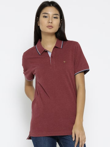 Numero Uno Women Maroon Solid Polo Collar T-shirt Numero Uno Tshirts at myntra