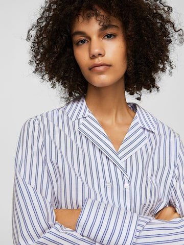 MANGO Women White & Blue Regular Fit Striped Casual Shirt MANGO Shirts at myntra