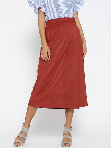 MANGO Rust Brown Wrap Midi Skirt MANGO Skirts at myntra