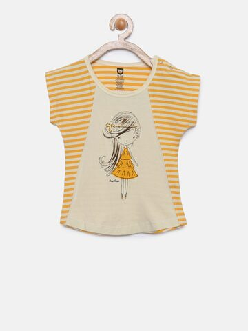 Baby League Girls Off-White Printed Top Baby League Tops at myntra