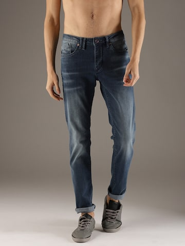 Flying Machine Men Blue Jackson Skinny Fit Mid-Rise Clean Look Stretchable Jeans Flying Machine Jeans at myntra