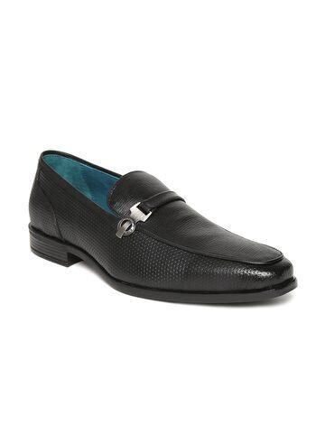 San Frissco Men Black Textured Semiformal Slip-Ons San Frissco Formal Shoes at myntra