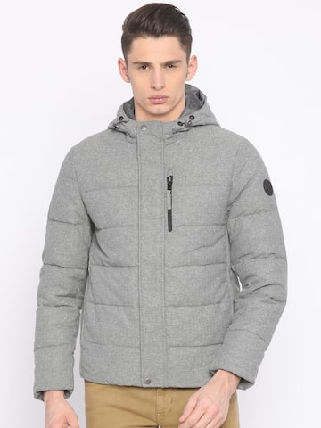 Timberland Men Grey Solid Hooded Padded Jacket Timberland Jackets at myntra