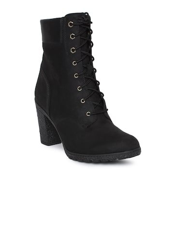 Timberland Women Black Solid GLANCY Nubuck Heeled Boots Timberland Heels at myntra