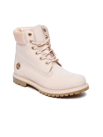 Timberland Women Pink Solid Leather Mid-Top Waterproof Flat Boots Timberland Casual Shoes at myntra