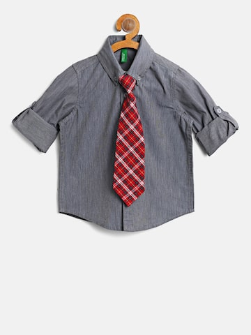 United Colors of Benetton Boys Grey Solid Casual Shirt with Tie United Colors of Benetton Shirts at myntra
